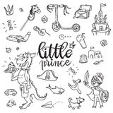 Little prince funny graphic set. Boy in armor and cloak, sword, Royalty Free Stock Photos