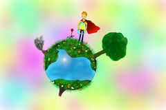 Little prince on his planet Royalty Free Stock Image