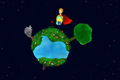 Little prince on his planet. Little prince and red rose on his planet at night and lots of stars in the night sky royalty free illustration