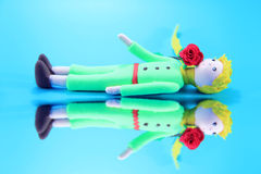 Little prince and his rose Stock Image