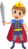 Little Prince Holding Sword. Illustration featuring a charming little prince with red cloak holding a sword isolated on white background. Eps file available Royalty Free Stock Photo