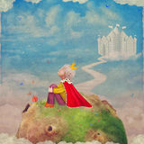 The Little Prince  on a planet  in beautiful  sky Royalty Free Stock Photography