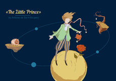 The little prince. Of the planet in space royalty free illustration