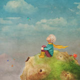 The Little Prince with a rose on a planet  in beautiful  sky Stock Photo