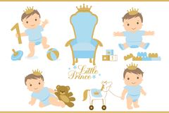 Little prince. Royal  throne icon. Set of cute illustration for birthday invitation or baby shower. Toddler`s first step. Sitting, playing, crawling and walking Royalty Free Stock Photography
