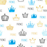 Little prince seamless pattern in blue and golden colors. Royalty Free Stock Images
