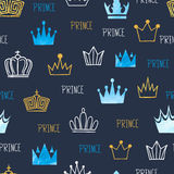 Little prince seamless pattern with watercolor and glittering crowns. Royalty Free Stock Images