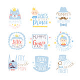 Little Prince Set Of Prints For Infant Boy Room Or Clothing Design Templates In Pink And Blue Color Stock Photos