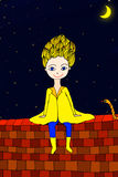 Little prince sit on the wall with snake Royalty Free Stock Photos