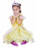 Little Princess. A cute little girl dressed in a princess costume isolated on a white background Royalty Free Stock Photography
