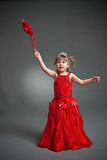 Little princess. In red dress royalty free stock photo