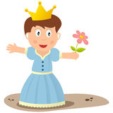 Little Princess. A cute little princess in full dress with the crown and a flower. Eps file available Stock Images