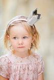 Little princess. Portrait of very cute little princess outdoors stock photography