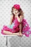 Little princess. Studio portrait of cute little princess wearing beautiful tutu skirt royalty free stock photography