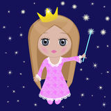 Little Princess. With a magic wand lights a star Royalty Free Stock Images