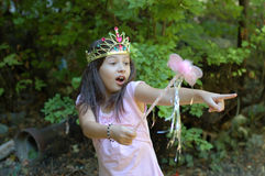 Little Princess. A little girl with a wand dressed up like a fairytale princess Royalty Free Stock Photography