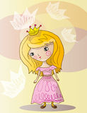Little princess. Vector illustration of funny girl in crown and party dress Stock Photo