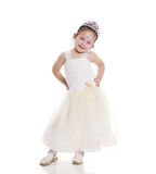 Little princess. With white dress and crown stock images
