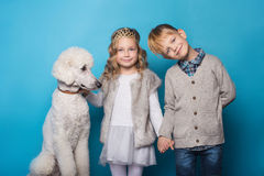 Free Little Princess And Handsome Boy With Royal Poodle. Love. Friendship. Family. Studio Portrait Over Blue Background Royalty Free Stock Image - 88782846