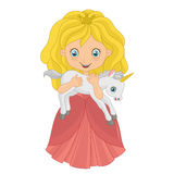 Little princess with baby unicorn Stock Photography