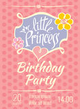Little Princess birthday party vector poster or invitation card template Royalty Free Stock Images