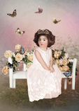 Little princess and butterflies Stock Photography