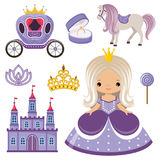 Little Princess, castle and carriage Stock Image