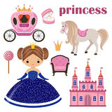 Little Princess, castle and carriage Royalty Free Stock Photos