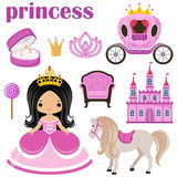 Little Princess, castle and carriage Royalty Free Stock Photography