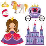 Little Princess, castle and carriage Royalty Free Stock Photo