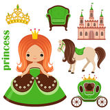 Little Princess, castle and carriage Royalty Free Stock Images