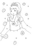 Little Princess Coloring Page. Line illustration suitable as coloring page for children Royalty Free Stock Image