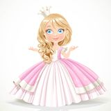 Little princess in crown wearing in magnificent dress Royalty Free Stock Image