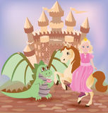 Little princess and cute dragon Royalty Free Stock Photography