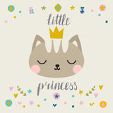 Little princess. Cute little cat with crown. Fashion pussycat. Childish postcard Stock Photo
