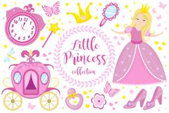 Little Princess cute pink set objects, icons cartoon style . Pretty girl in beautiful dress with a crown, carriage royalty free stock images