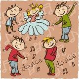 Little Princess dance with her retinue hand drawing  illus Stock Images