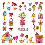Little princess design elements. Cute hand drawn princess collec Royalty Free Stock Photography