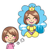 Little Princess Dream. Cute little girl cheerful dreaming being a princess in royal dress and gold crown royalty free illustration