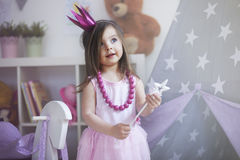 Little princess. Dreams about being princess comes true Stock Photos
