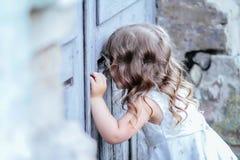 Little princess dress. Little princess in a pink dress stock photography