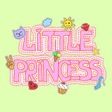 Little princess fashion girlish illustration fot t-shirt print, pretty design with patches Stock Photo