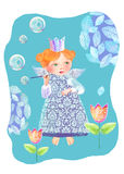 A little princess among the flowers blowing soap bubbles. Cute fairy blows soap bubbles in the garden Stock Photography