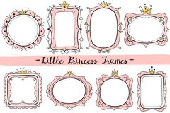 Little princess frames. Pink cute mirrors frame, baby girl birthday party invitation card with hand drawn crown vector