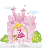 Little princess in front of her castle. Little girl pretending to be a princess in front of the pink castle Royalty Free Stock Image