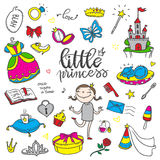 Little princess funny color set. Girls dress, butterfly, mirror,. Sweets, gifts, diamond ring, dragon, hearts and stars. Isolated elements on a white background Royalty Free Stock Image
