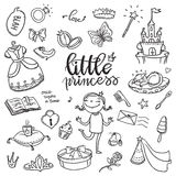 Little princess funny graphic set. Girls dress, butterfly, mirror, sweets, gifts, diamond ring, dragon, hearts and stars. Isolate. D elements on a white vector illustration