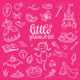 Little princess funny graphic set. Girls dress, butterfly, mirro. R, sweets, gifts, diamond ring, dragon, hearts and stars. Isolated elements on pink background Stock Image