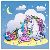 Little Princess Girl and Cute Unicorn,  illustration Royalty Free Stock Photography