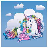 Little Princess Girl and Cute Unicorn, vector illustration. Little Princess Girl hugging a unicorn Stock Images